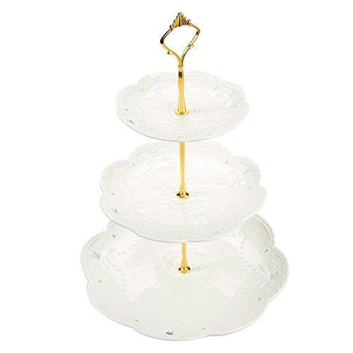 Soporte de postre de cerámica de 3 niveles, perfecto para guardar magdalenas, tartas, frutas, ideal para bodas, cumpleaños, fiestas, baby shower, novia, color blanco