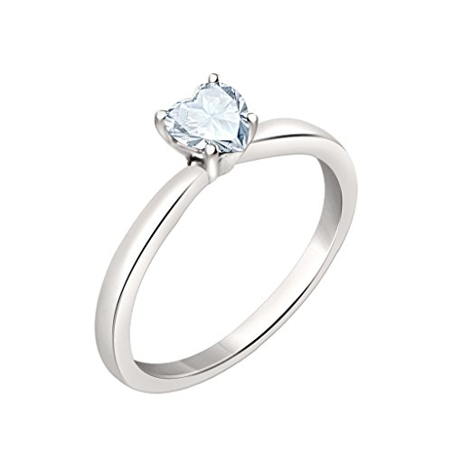 Silvernshine 7mm Heart Cut Sim Diamond Solitaire Engagement Ring 4 Prong 14K White Gold Plated
