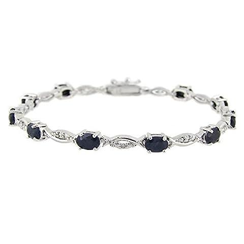 Sterling Silver 6.ct Sapphire & Diamond Accent Swirl