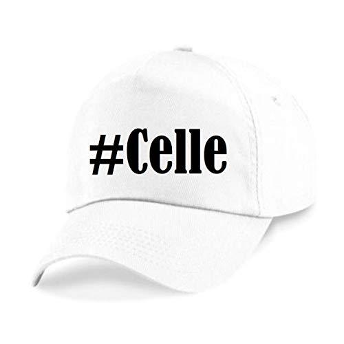 """Base Cap Hashtag """"#Celle""""Größe""""uni""""Farbe""""Weiss""""Druck""""Schwarz"""