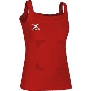 New Gilbert Haut Femme Blaze Fermeture Scratch Netball Kit Femmes Sans Manches T-shirts Rouge