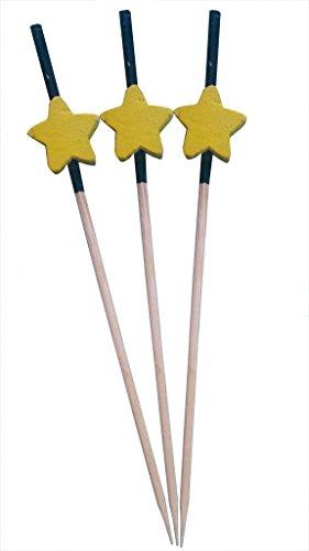 KRAFTS® 100Stück 9cm Holz Einweg Zahnstocher mit Gelb Star