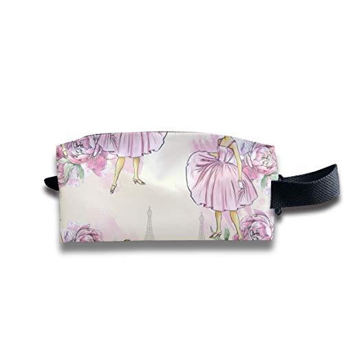 Hübsche Kleider Pink In Paris_585 Tragbare Reise Make-up Kosmetiktaschen Organizer Multifunktions Tasche Taschen für Unisex Bcbg Paris