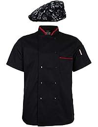 e316a0bc1b2 Sharplace 1x Chaqueta Uniforme de Chef 1x Gorra Patrón Vajilla Beret  Panadero para Escuelas de Hostelería