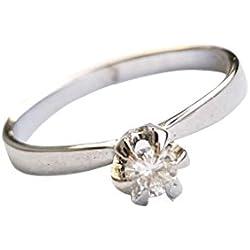Para Mujer, Diseño de Anillo de Oro Blanco de Boda 18kt 750 Diamante 0,12CT VVS F G