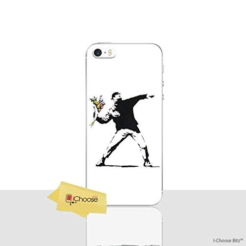 iPhone 5/5s Banksy Silikonhülle / Gel Hülle für Apple iPhone 5s 5 SE / Schirm-Schutz und Tuch / iCHOOSE / Blumen Banksy Werfen Blumen