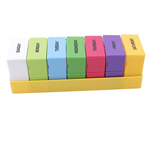 Winwinfly Portable Pill Box Wöchentlich 7 Tage Medizin Box Halter Vitamin Medizin Gesundheitswesen Pille Fällen (gelb)