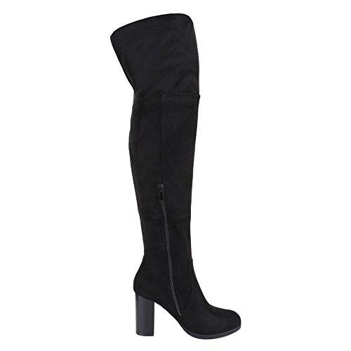 Ital-Design Overknee Stiefel Damen Schuhe Klassischer Stiefel Pump Moderne Reißverschluss Stiefel Schwarz