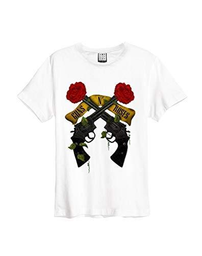 Amplified Herren Guns N Shooting Roses T-Shirt, White Wh, XS