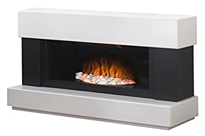 Adam Verona Freestanding Electric Fire, 2000 Watt, White/ Grey
