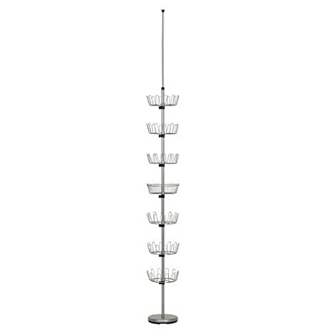 Household Essentials Floor to Ceiling 6-Tier Revolving Shoe Tree with Basket, Silver by Household Essentials