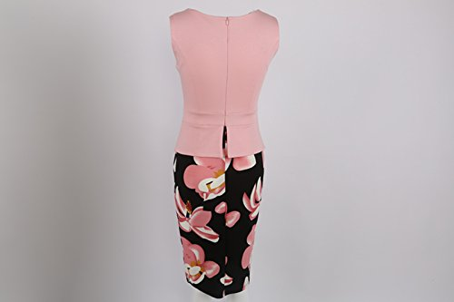 Babyonline Damen Vintage-Ausschnitt Sommer Kleid Rosa Kontrast Blumenabend Pencilkleid S-5XL Lila Langarm