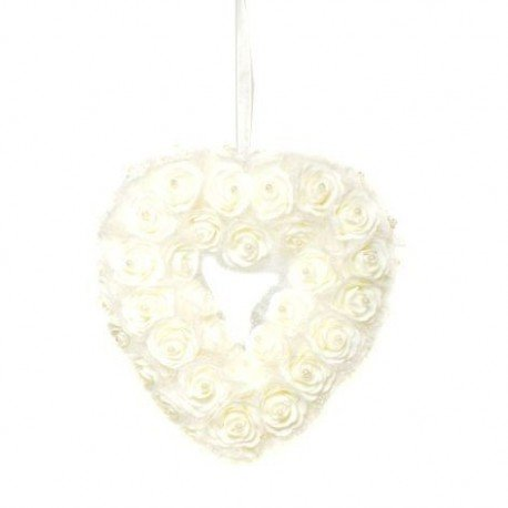 Dekorationsherz weiße Rosen zum Aufhängen Dekoherz ca. 24 x 23 cm Rosenherz (Zum Kränze Verkauf)