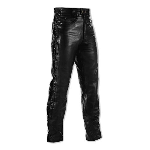 A-Pro Jeans Pelle Pantaloni Moto Custom Chopper Nero Comfort 32