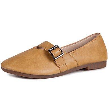 Shoeshaoge pour femme Chaussures PU Spring Summer Confort appartements Talon bas Bout Rond Hook & Amp; passant pour décontracté Blushing Rose Jaune Noir Blanc jaune