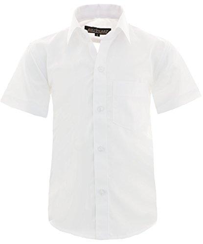GILLSONZ A0 vDa New Kinder Party Hemd Freizeit Hemd bügelleicht Kurz ARM mit 9 Farben Gr.86-158 (134/140, Weiß)