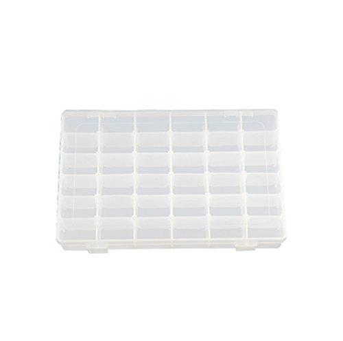 Grifri Cosmos - Caja de almacenamiento de plástico duro transparente con 36 compartimentos para joyas con separadores extraíbles