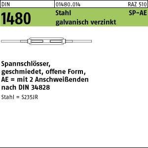 DIN 1480 Stahl SP-AE galvanisch verzinkt Spannschlösser, geschmiedet, offene Form mit 2 Anschweißenden - Abmessung: SP-AE M22 (1 Stück) (Form Spannschloss)