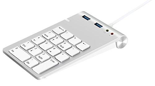 Tastierino Numerico USB, Alcey Finitura in Alluminio Tastierino Numerico USB con Combo Hub a USB 3.0 e Adattatore Audio in Stereo Esterno