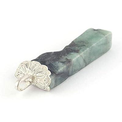 Pendentif d'Émeraude vert irrégulier serti d'argent 925, 38x14x7 mm env.