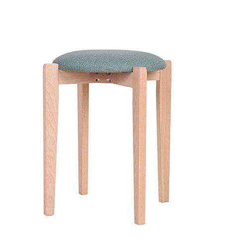 DEO Bureau d'ordinateur Tabouret en bois massif Tabouret carré Tabouret en tissu Tabouret Tabouret en cuir durable (Couleur : Bleu)