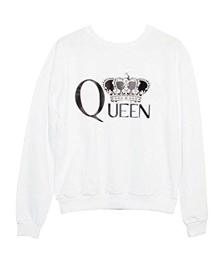YouPue Femme Sweatshirt Casual Lettre Impression Pullover pour Automne Hiver Blanc