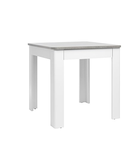 Intertrade Norwegen Esstisch, 80 x 77 x 80 cm, Dekor Strukturbeton/Weiß, Holzdekor, 80 x 80 x 77 cm
