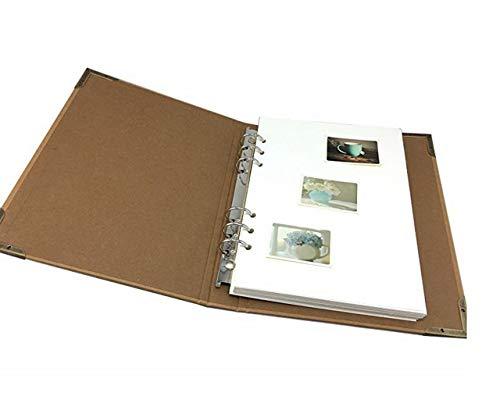 ZHAOXIANGXIANG Leere Kraftpapier Ringbindung Scrapbook DIY Fotoalbum Andenken Buch Für Baby&Familie Album, Hochzeit Gästebuch, Schwangerschaft Journal, Weiße Seite (Leder-journal Weiße)