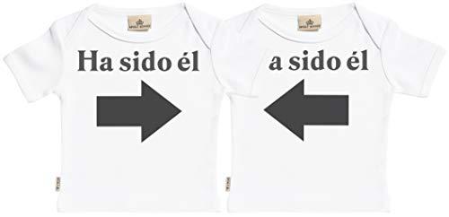 SR - Estuche de presentación - Ha Sido él & Ha Sido él - Conjunto Gemelo - Camisetas para bebé niño - Camisetas para bebé niña - Conjunto Regalo del bebé - 12-18 Meses Blanco