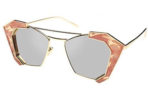 XYLUCKY 2017 neue Stil polygonalen Sonnenbrille Marmor Farbe Film Metall Rahmen Sonnenbrillen , e