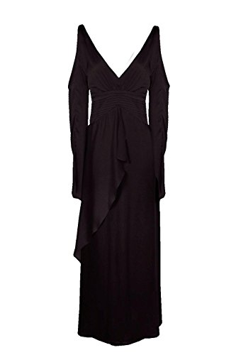 Damen Schwarz Boutique Ria Satin Cold Shoulder Maxi Dress Schwarz