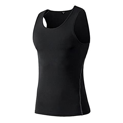 Butterme Respirant Compression Sport Amincissante sans Manche Shapewear minceur Vest Débardeur Gainant pour Hommes - 2XL - Noir