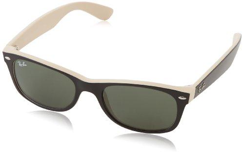 Ray Ban Unisex Sonnenbrille RB2132, Gr.52mm (Gestell: schwarz, beige; Gläser: kristall grün)