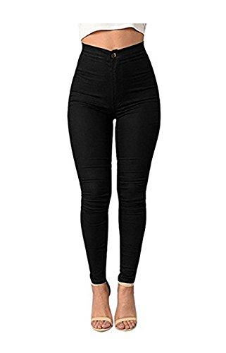 Carolilly Leggings Pantalon Collant Femme Taille haute Sexy-Chic Automne Hiver (44, Noir)