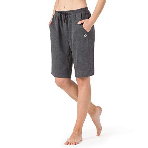 NAVISKIN Damen Bermuda Shorts leicht Joggingshorts atmungsaktiv Sportshorts weich Trainingsshort schnelltrocknend Laufshort Grau Größe XXL(Schrittlänge:18cm)