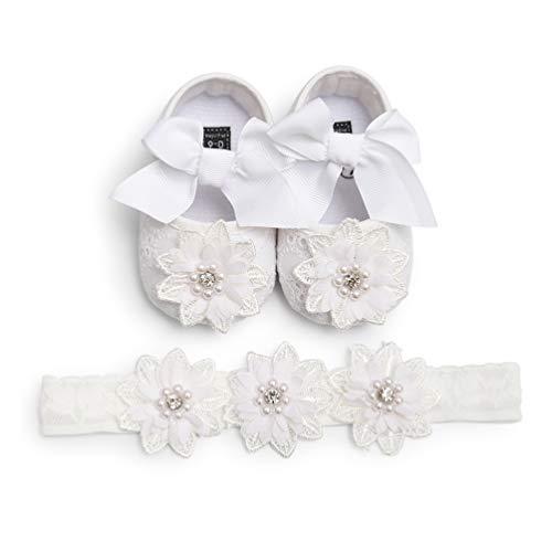 EDOTON 2 Pcs Kleinkind Schuhe+ Stirnband, Baby Mädchen Blumen Schuh Anti-Rutsch-Weiche Besondere Anlässe Taufe Hochzeit Party Schuhe (12-18 Monate, B - Weiß) (Schuhe Hochzeit Mädchen)