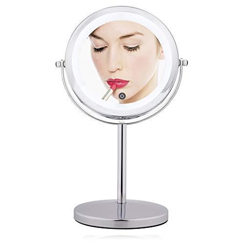7 Pouces LED Miroirs de Maquillage, Double Face Miroir Mural, Miroir cosmétique 10 Fois grossissement, Charge par Batterie(Non Inclus)