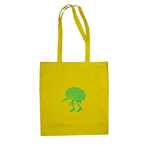 Walking Brain - Stofftasche / Beutel, Farbe: gelb (Halloween Planet Kostüme)