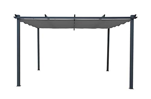 GRASEKAMP Qualität seit 1972 Flachdach Pergola Pompeii Grau Vordach Sonnendach 3 x 4m Fläche