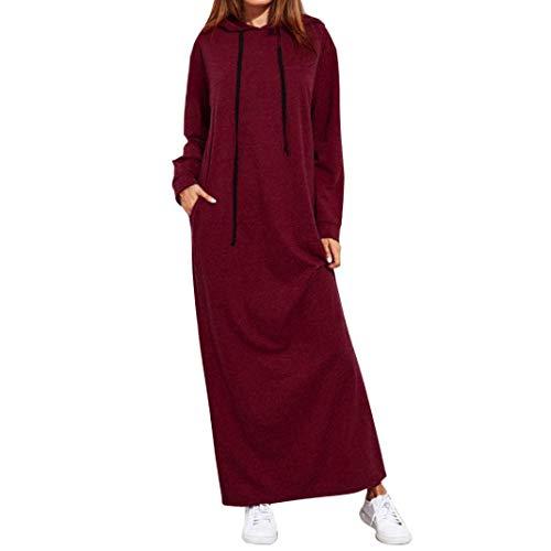 OverDose Damen Herbst Daily Sport Style Frauen Maxi Kleid Langarm mit Kapuze Damen Casual Hoodies Golf Outdoor Dating dünne Lange Kleider(Rot,EU-42/CN-L)