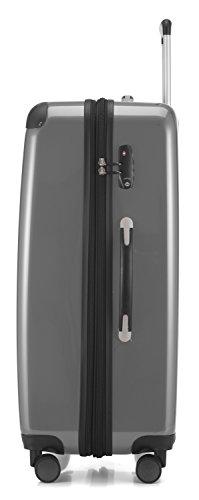 HAUPTSTADTKOFFER - Alex - NEU 4 Doppel-Rollen Großer Hartschalen-Koffer Koffer Trolley Rollkoffer Reisekoffer, TSA, 75 cm, 119 Liter, Silber - 2