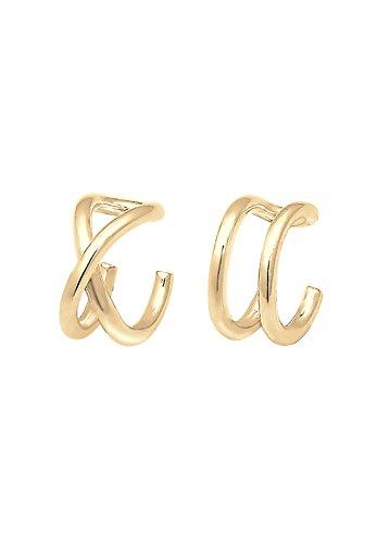 Elli Ohrringe Earcuff Set Geo Basic Minimal aus vergoldetem 925 Sterling Silber