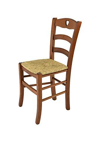 Tommychairs sedie di design - sedia cuore per cucina e sala da pranzo dallo stile classico con robusta struttura in legno di faggio verniciata color noce e seduta in paglia