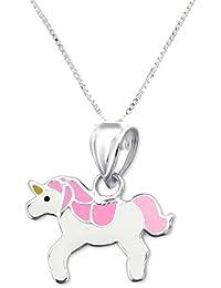 FIVE-D Set Cadena Remolque Infantil Pinkes Unicornio 925Plata en Caja de Regalo
