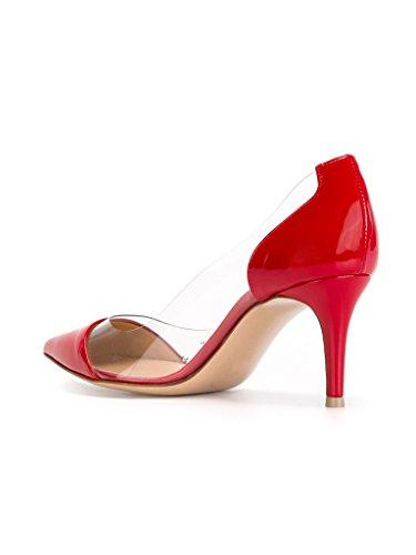 EDEFS -Escarpins Femmes - Kitten-Heel Cour Pompes - Transparent PVC Chaussures - Bout Pointu Bride Soirée Mariage Rouge