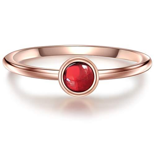 Glanzstücke München Damen-Ring Sterling Silber 925 rosévergoldet mit Granat - Edelstein-Ring mit Stein Granat-Ring Rosegold-Farben