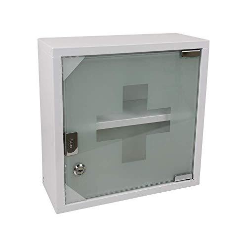 Zedelmaier Medizinschrank aus Edelstahl 2 Fächer mit Glas Tür 33 x 30 x 12 cm (Weiß - 2 Fächer)