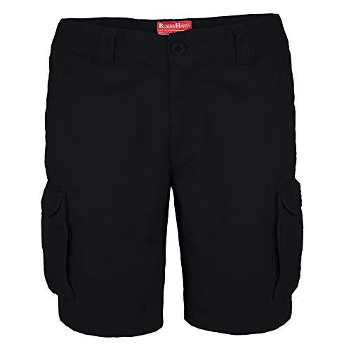 BlauerHafen Herren Cargo Shorts 100% Baumwolle Combat Kurz Hose Normale Passform Bermuda (W32 (Taille: 84-86cm), Schwarz) - Metall-herren-shorts