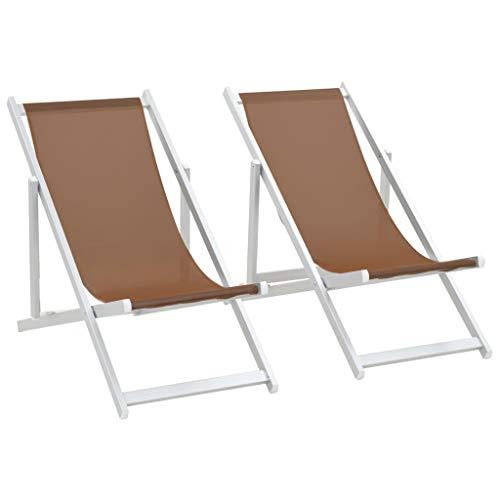 vidaXL 2X Chaise de Plage Pliable Marron Aluminium Textilène Chaise de Jardin