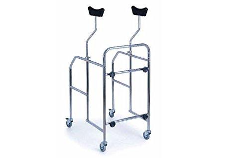 Deambulatore smontabile in acciaio cromato con supporti ascellari - base non regolabile in altezza W05723618002